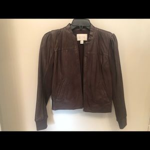 Hinge brown leather jacket